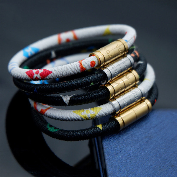 Vendita calda di nuovo modo di lusso gioielli RT852 marca bracciali in acciaio inox braccialetti pulseiras bracciali in pelle per le donne regalo degli uomini senza scatola