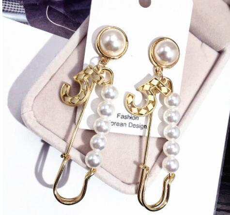 2019 Pearl Number Dangle Chain Famous Brand2 Designer Luxury Jewelry Jewlery Brincos Orecchini Earrings For Wom 663