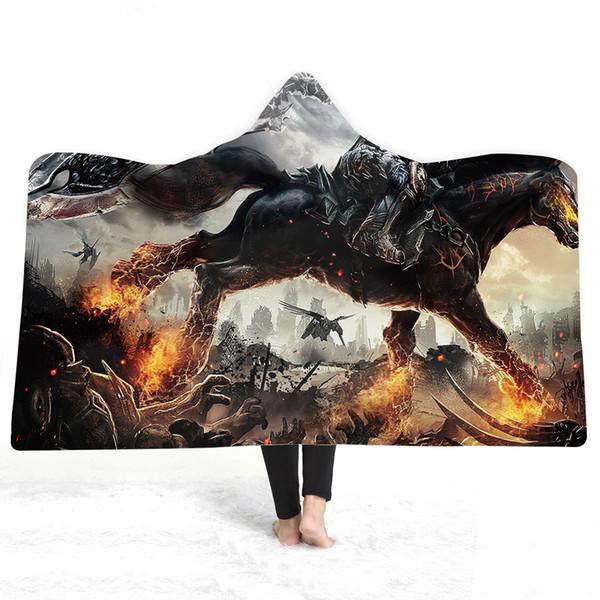 3D équitation capuche couverture Sherpa polaire Wearable peluche jeter couverture sur le canapé-lit épais chaud B132