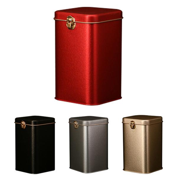 Boîtes de thé en métal Boîte de stockage de bonbons en fer blanc de haute qualité à serrure en fer blanc Boîte de stockage de poudre de café en poudre
