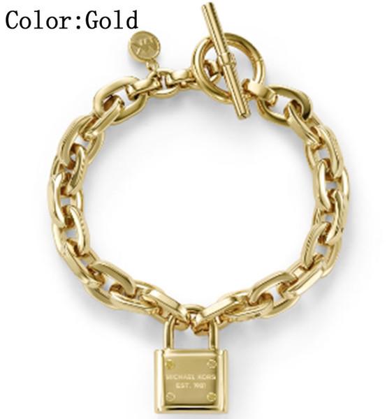 Women's Lock Bracelets 925 Sterling Silver Gold Plated Pendants Charm Bracelets Bangle Jewelry For Men Women B006