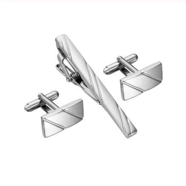 Simple Diagonal Stripe Bussiness Tie Clip Cufflinks For Mens Set Cufflinks High Quality Tie Pin Cufflinks Set Men Jewelry Gifts