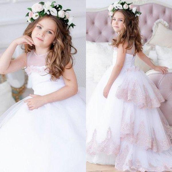 3f42efae7c0 2019 Красивые причастия платья бальное платье для девочек-цветочниц на  заказ длинные пышные тюль платье
