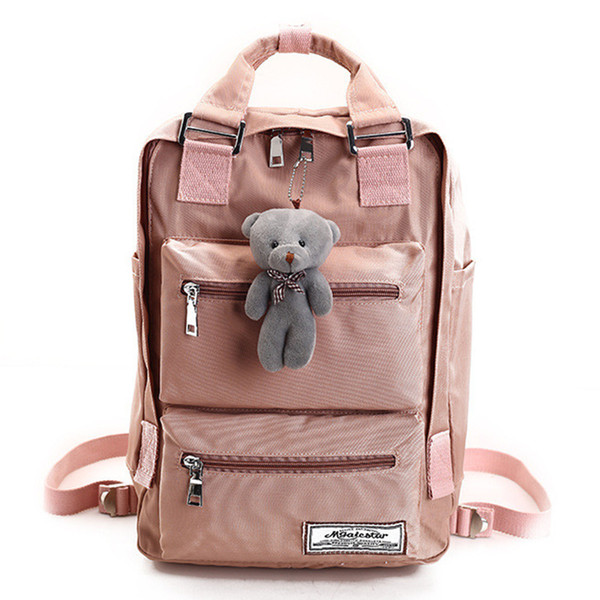 College Style Solid Color Waterproof Nylon Women Backpack Cute School Bags For Teen Girls High Quality Travel Bag