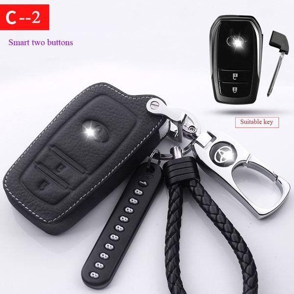 Toyota Premium Leather Key Case Titanium Keychain Camry Prado Corolla