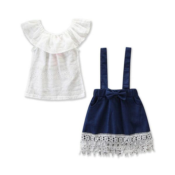 Bambino bambini vestiti delle ragazze girocollo senza maniche Ruffle pullover Top Denim Strap pocket Nappa gonne 2pc Toddler abiti carini