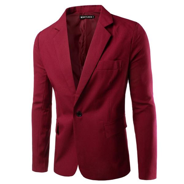 new arrival single button leisure blazers men male 2016 korean fashion slim fit casual red navy blue blazer clothing m-3xl