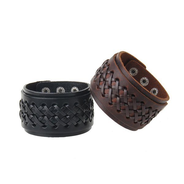 Fashion jewelry leather vintage cowhide rope woven bracelet for man gift