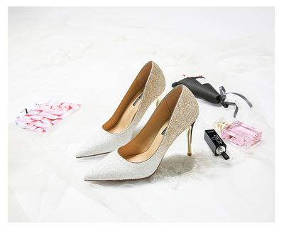 Discount Pointed sequins hot new high heels female shallow mouth crystal with bridal wedding shoes wild gradient single shoes