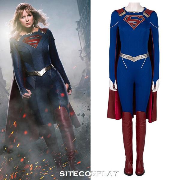 SITECOSPLAY Supergirl Season 5 Kara Cosplay disfraz para mujeres adultas traje de cuero mono sexy hecho a medida con botas capa 2019 Halloween