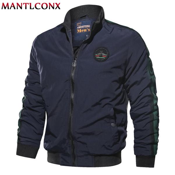 MANTLCONX Neue Frühling Herbst Bomberjacke Männer Freizeitjacke Männlichen Outwear Reißverschluss Mantel Marke Jacken Baseball Uniform Stehkragen