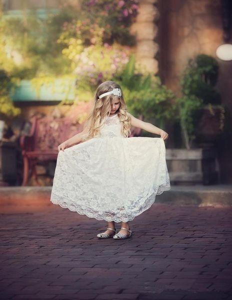 Summer BOhemian Beach Flower Girl Dresses For Vintage Wedding 2019 White Full Lace Floor Long Little First Communion Ball Gowns