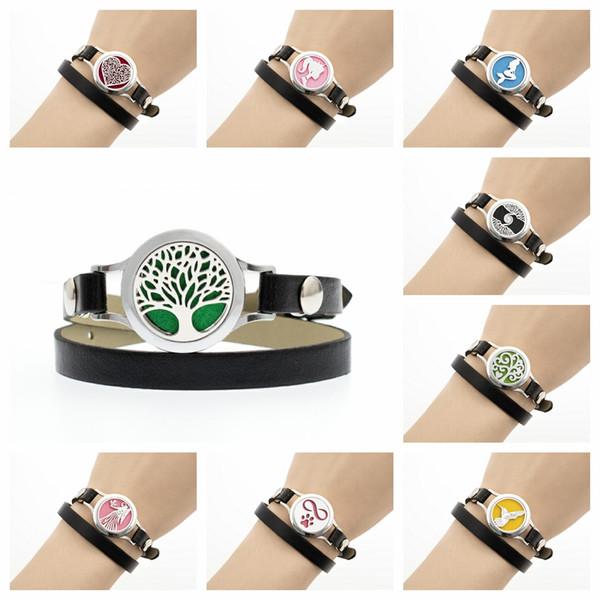 Dog paw bird Virgo Perfume Essential oil Diffuser Locket bracelet bangle 25mm locket Black Pu leather bracelet 10pads women bracelet as gift