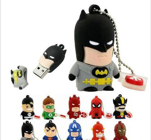 Top sell Cartoon Super Hero USB Flash Drive 8GB 16GB 32GB 64GB Iron Man Flash Memory Batman Pendrive Captain America Pen Drives