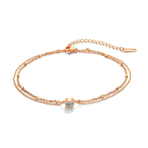 Elegant Layered Double Chain Anklet Beach Party Wedding Jewelry Rose Gold Color Stainless Steel Ankle Bracelet Leg Chain Zircon