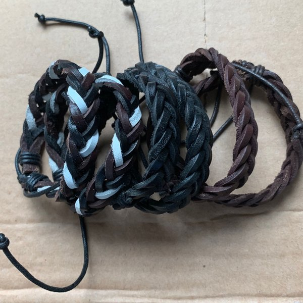 Leather Cotton Rope Adjustable Men Women Cheap Colourful Multilayer Wristband Hand Made Clothing Accessories Bracelets Jewelry