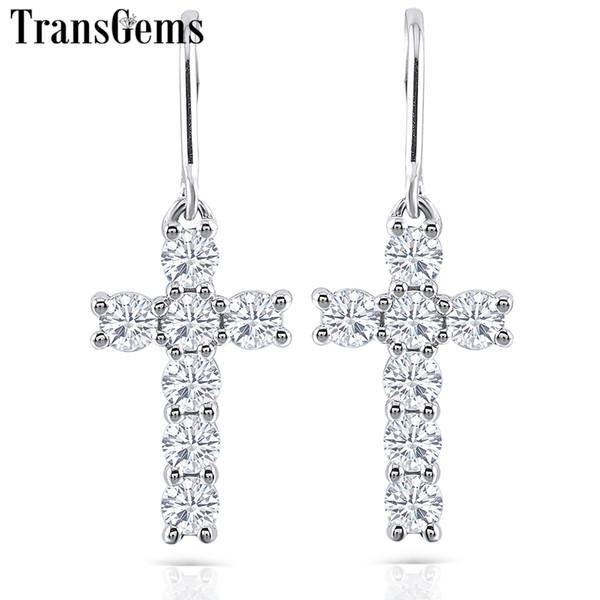 Transgems Cross Shaped 14k White Gold Moissanite Drop Earrings For Women 3mm Gh Color Moissanite Cross Dangle Earrings Gold J 190427