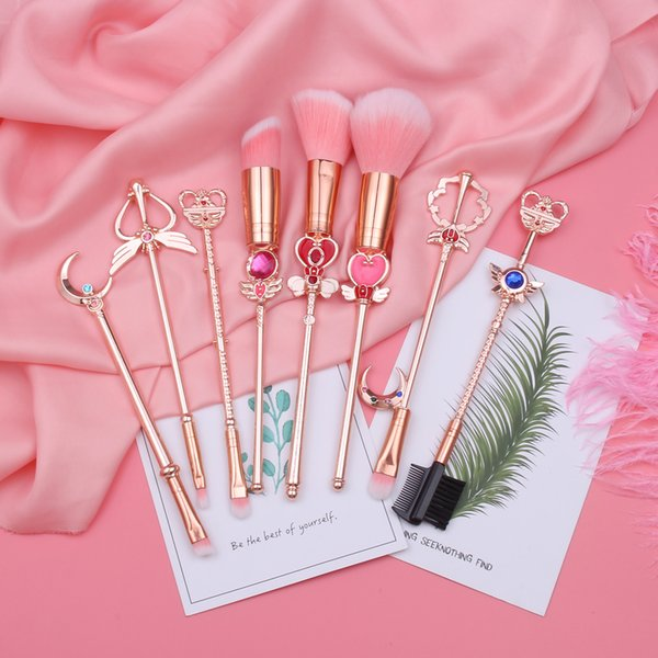 Hot Sailor Moon Kosmetik Pinsel Make-Up Pinsel Set 8 stücke Tools Kit Eye Liner Shader Foundation Puder Natürlich-synthetische Rosa Haar T190724