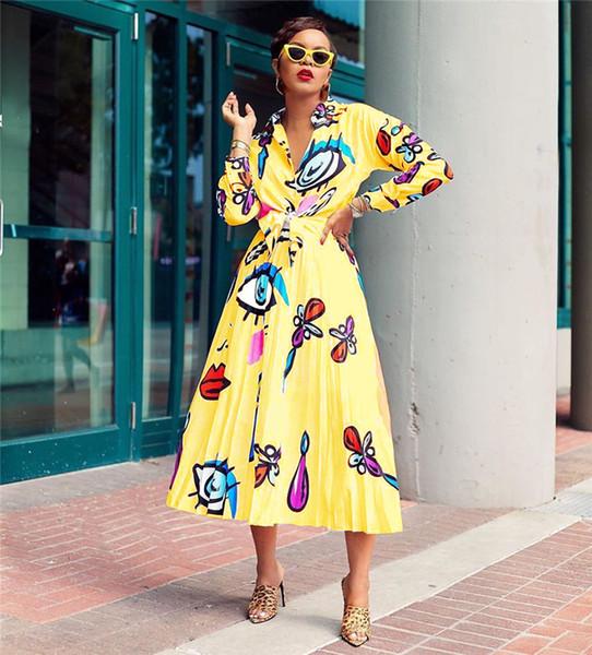 Kadın Elegent Elbiseler Büyük Gözler Dudaklar Baskılı Bayanlar Gömlek Bluz ve Uzun Pileli Elbise Etek Iki Parçalı Set Moda Uzun Kollu Elbise C71704