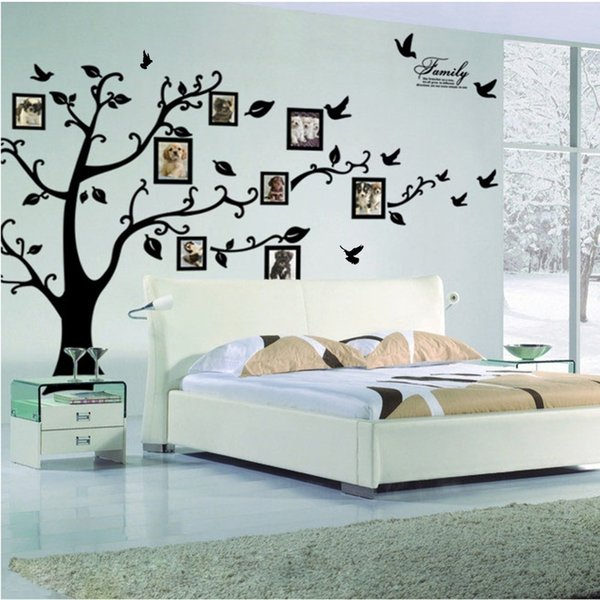 Free Shipping:large 200*250cm/79*99in Black 3d Diy Photo Tree Pvc Wall Decals/adhesive Family Wall Stickers Mural Art Home Decor T8190612