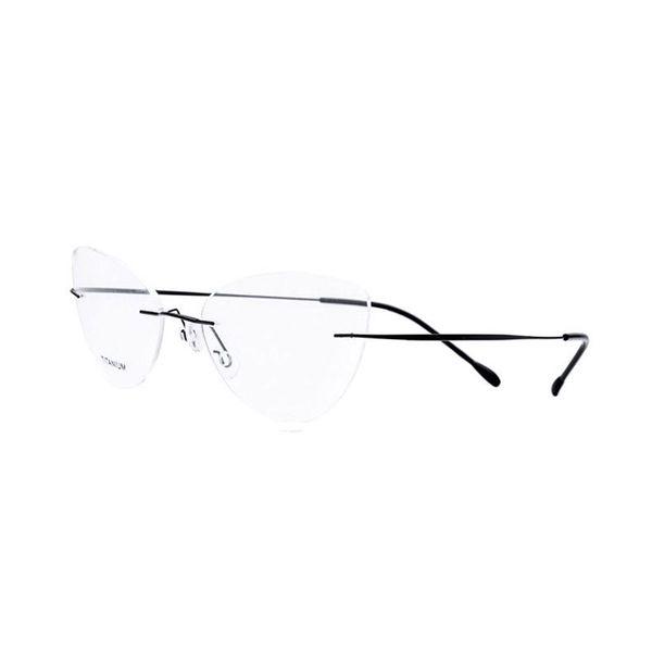 Mode féminine Cat Eye Rimless lunettes en titane cadre optique lunettes lunettes pour femme Lunettes