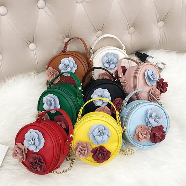 Ragazza principessa 3D fiore Hangbags forma rotonda Baby Girl catena Mini Cross-body Borse bambini Pu Leather Cute Messenger Bag