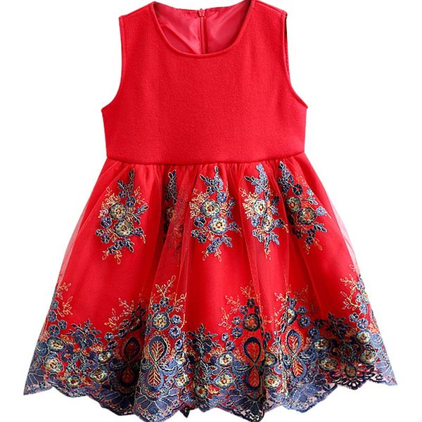 Flower Girl Kids Baby Princess Dress Embroidered Girls Christmas Day Party Dress