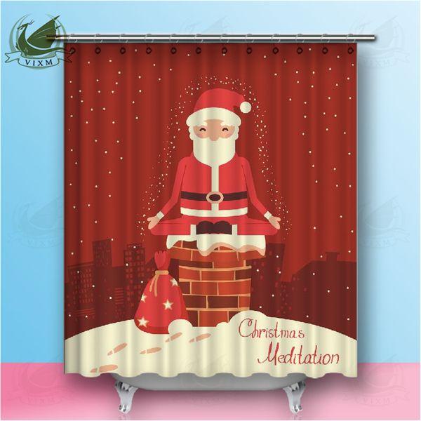 Acheter Vixm Yoga Mandala Méditation Indienne Cartoon Santa Claus Creative  Rideau De Douche Danse Mignon Polyester Imperméable Tissu Salle De Bains ...