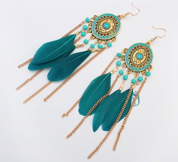 HOT Sale 4 colors Retro Gold Long Chain Feather Tassel Earrings Dangle for Women Fashion Jewelry Gift Free shipping