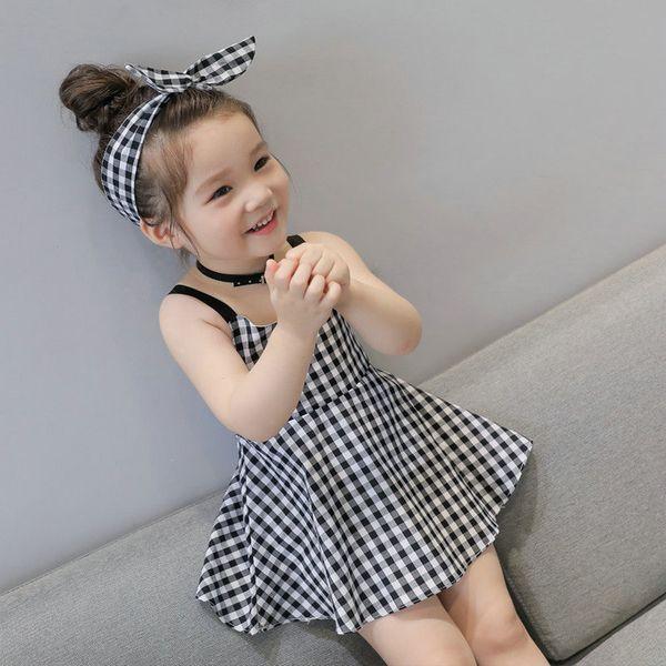 2019 Baby Girls Plaid suspender Dress With Bow Headbands Summer Kids Korean Cute Sleeveless Backless High Waist Princess Dresses Clothing