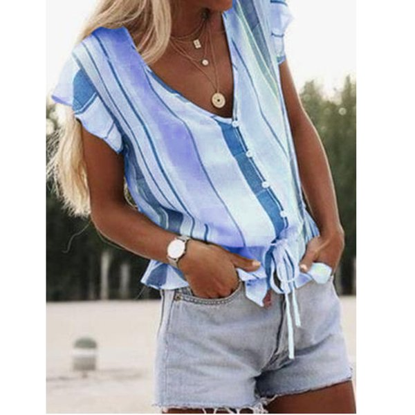 Womens Tops And Blouses Summer Streetwear Print V Neck Woman Blouse Ladies Tops Women Clothes 2019 Korean Fashion Clothing
