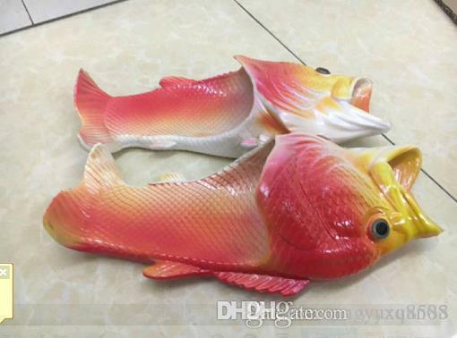 2018 Fish-shaped slippers summer creative funny paternity beach shoes dragged inside and outside dragons dragged inside and outside