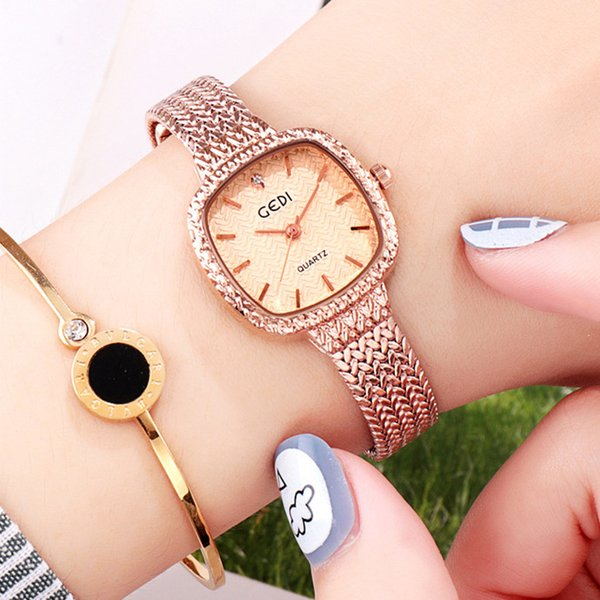 GEDI Women's Quartz Watch Simple Face Three-Dimensional Small Square Female Watch Students Watch