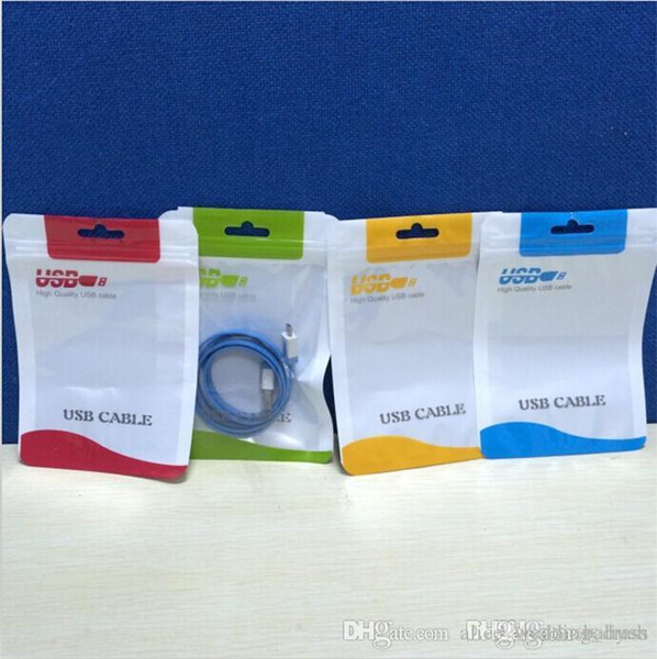 Flat Braided Cable Bag Plastic Zipper Poly Bag Retail Package For Iphone 6 7 8 X Samsung Huawei HTC Mobile Phone USB Charger