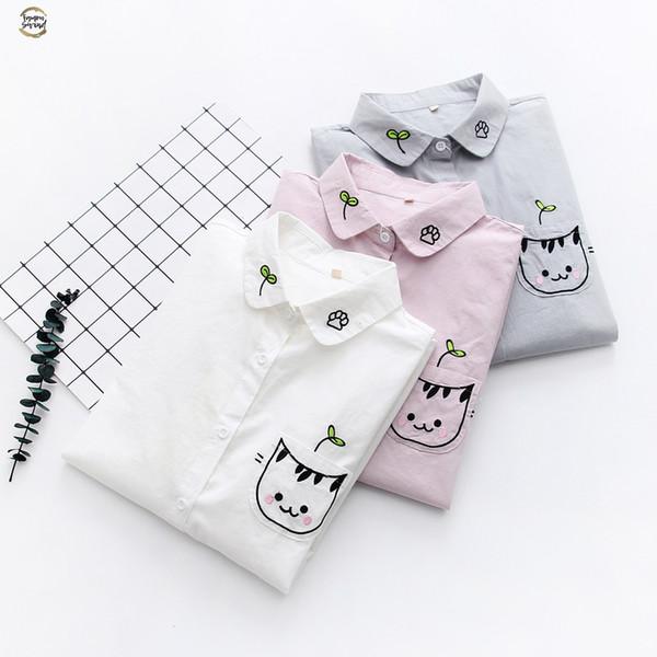 Gato blanco del bordado de las mujeres camisa de la blusa de algodón femenino del nuevo del verano dulce de la historieta camisas tapas de las mujeres Ropa para la mujer 2019
