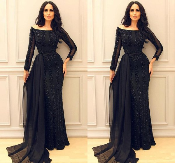 Sparkly Black Long Sleeve Prom Pageant Dresses 2019 Modest Middle East Arabic Arab Mermaid Sexy Evening Formal Gowns with Ribbon
