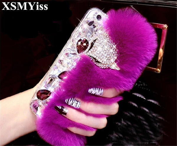 wholesale 3D Luxury Bling Diamond Rabbit Fur Case Fox Head Phone Case Cover For iphone X 4S 5S SE 5C 6 6s Plus 7 8 Plus