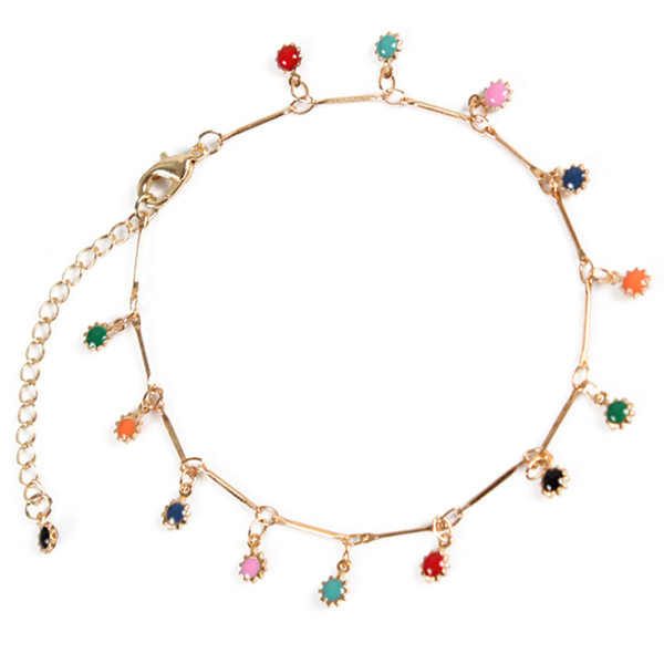 Fashion Sunflower Colored Foot Chain Anklets Bohemian Gold Silver Footchain Pendant Adjustable Anklet Bracelet for Women Jewelry
