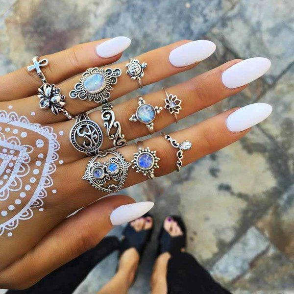 5Set European and American fashion Rings Set Vintage Silver Turtle cross lotus Finger Knuckle Rings for Women Jewelry gift