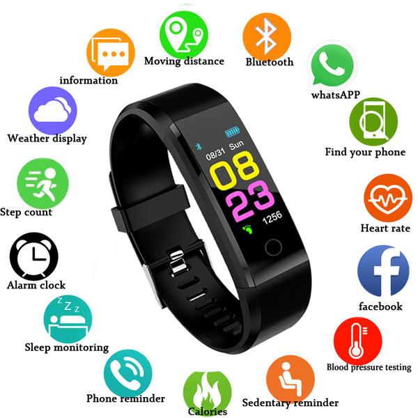 Nouvelle montre intelligente hommes femmes moniteur de fréquence cardiaque moniteur de pression artérielle Fitness Tracker Smartwatch montre de sport pour iOS android + BOX