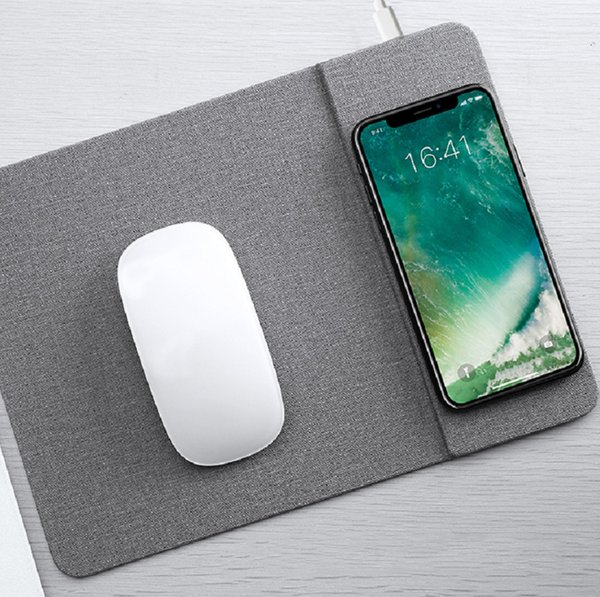 Mobile Phone Qi Wireless Charger 10W Charging Mouse Pad 5V/2A Mat PU Leather Mousepad for iPhone X/8 Plus Samsung S8 Plus