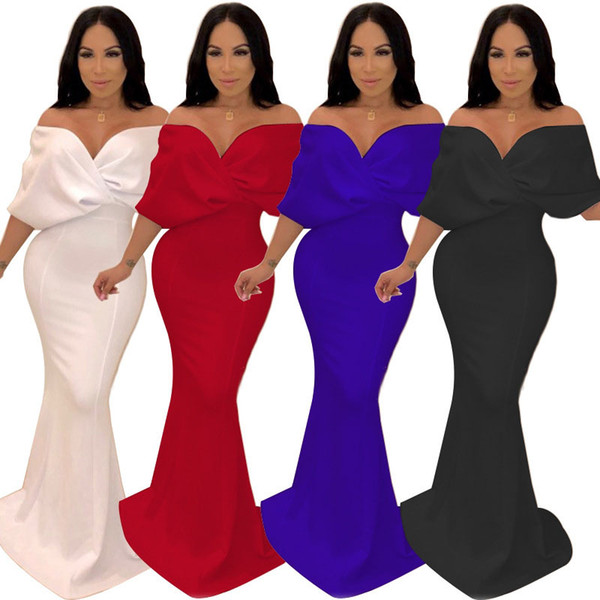 New 2019 women off shoulder plunging v-neck tie up half sleeve high waist floor length party maxi mermaid dress 4 colors