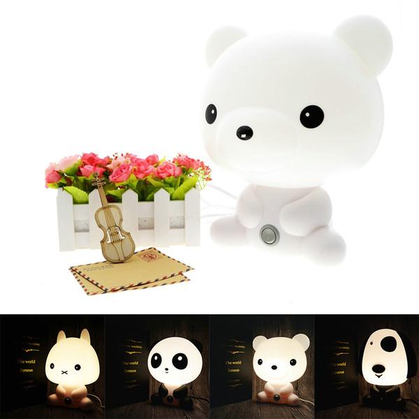 Luzes de mesa Quarto de Bebê Panda / coelho / cão / urso Dos Desenhos Animados Luz Crianças Cama Dormir Candeeiro de Mesa de Noite Com Lâmpada Q190611