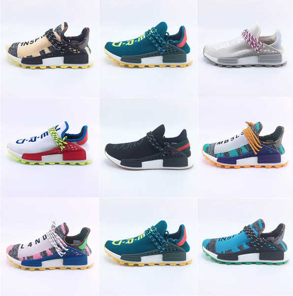 best selling Human Race Hu trail pharrell williams running shoes Nerd black Pink Glow mens trainers women designer shoes runner sneakers (Without Box)