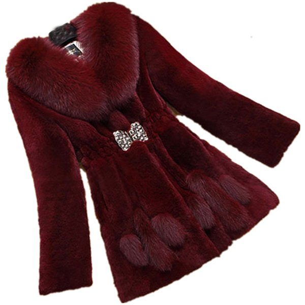 Winter Warm Large Size Medium Length Solid Color Fur & Faux Fur Women 2019 New Casual Long Sleeve Women Coat LJ2210