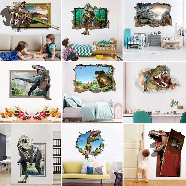 В розницу 9 стилей Дети Хэллоуин 3D наклейки стены динозавра Дети Съемные украшения спальни home decor wall art наклейка Обои