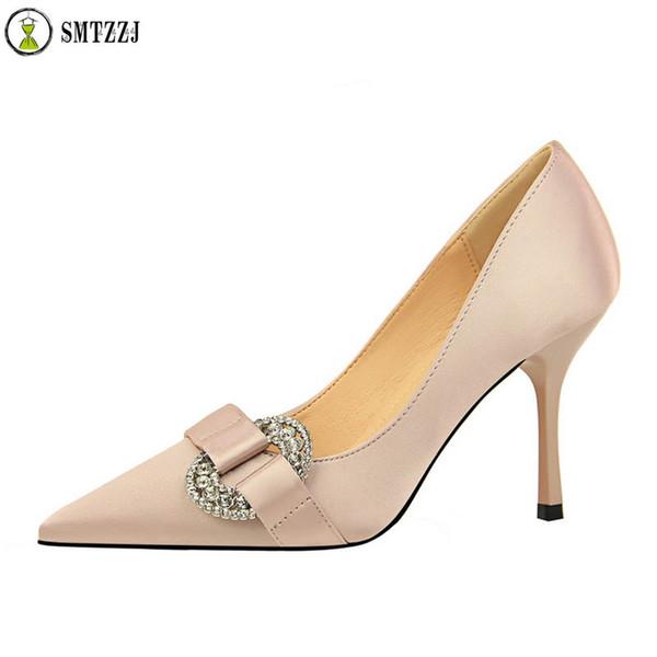 Ofis Bayan Sıcak Satış Kadın Ayakkabı Sivri Burun Pompaları Saten Ipek Elbise yüksek Topuklu Rahat Düğün Zapatos Mujer Kırmızı düğün ayakkabı