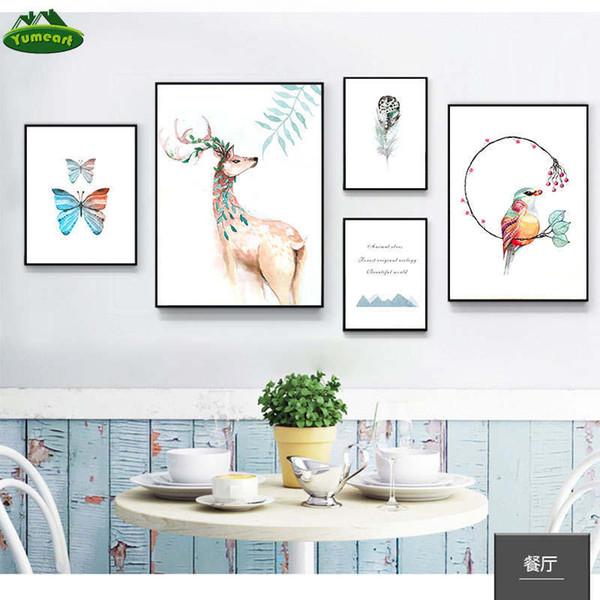Posters Kawaii and Paintings Prints cervos pássaro borboleta Animais Wall Art Canvas Wall Pictures Criança bebê crianças decoração do quarto