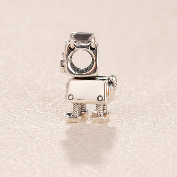 925 Sterling Silver Bobby Bot Dog Charm Bead with Cz Fit European Pandora Charm Bracelet & Necklace