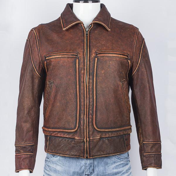 HARLEY DAMSON Vintage Brown Männer Kurze Biker Lederjacke Plus Größe XXXL Echtes Dickes Rindsleder Russische Herbst Motorrad Mantel